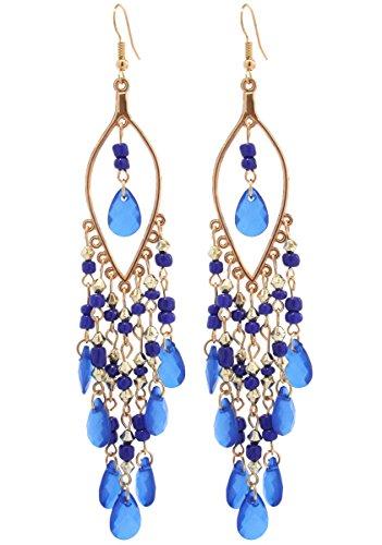 2LIVEfor Statement Ohrringe lang hängend Blau Schwarz Rosa Grün Weiß Ohrringe Ethno in Tropfenform verziert Ohrringe Bohemian Vintage Ohrhänger Sehr Lang Goldfarben Tropfen Perlen (Blau)