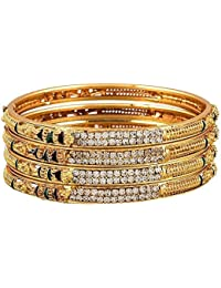 Zephyrr Fashion Precious Gold Plated Jewellery Bangles For Women (Set Of 4)