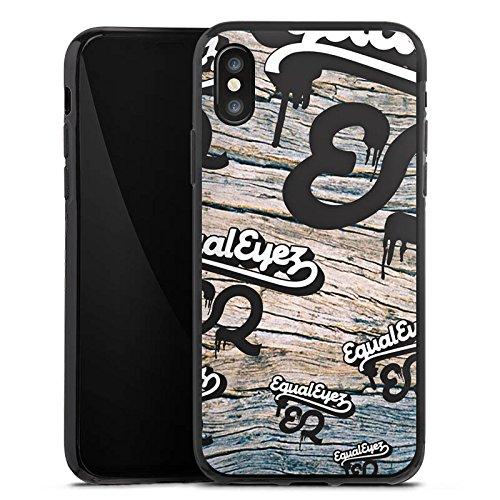 Apple iPhone X Silikon Hülle Case Schutzhülle Equaleyez Schrift Knock on wood Silikon Case schwarz