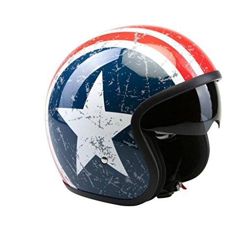 Roller Viper (VIPER RS-V06 LONE STAR AMERIKA USA STERNE UND STREIFEN OFFENES GESICHT MOTORRAD- ROLLERHELM - Blau, EXTRA SMALL)