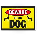 Beware of the Dog (Jaune)-Panneau chien Porte, panneau d'avertissement Plaque de porte/portail de jardin Clôture de jardin-Panneau Maison, répulsif et protection anti-vol-Attention/Vorsicht Hund