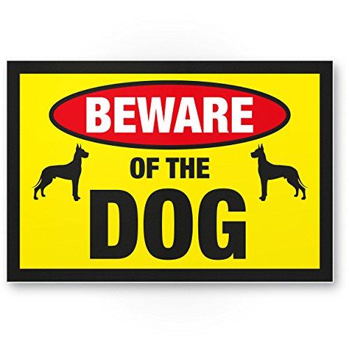 Beware of the dog (gelb) - Hunde Kunststoff Schild, Hinweisschild Gartentor/Gartenzaun - Türschild Haustüre, Warnschild Abschreckung/Einbruchschutz - Achtung/Vorsicht Hund