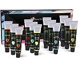 ColorTechnik Set de 12tubes de peinture acrylique Qualité professionnelle Palette incluse Tubes en aluminium Pour peinture sur toile, bois, argile, tissu, ongles et céramique Pigments riches...