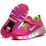 Charmstep Unisex Niños LED Parpadea Zapatos con Ruedas, Ajustable Rueda Automática Aire Libre Patines Deportes Zapatillas Niño Niña,Pink,29EU