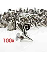 100PCS Silver Cone Spikes Screwback Studs for DIY Craft Leathercraft--Perfect for Decoration on Your DIY Bags, Leather Bracelets, Clothes, Shoes, etc