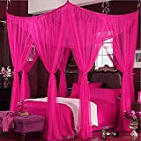 Prinzessin Decke Moskitonetze,Europäischen Palast Netting Bettwäsche Bodenart Bett Baldachin Vier Ecke Netting Vorhänge-Rose Queen2