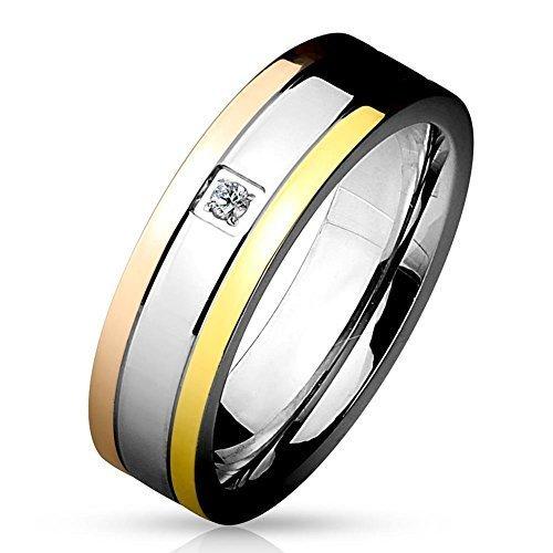 Tapsi´s Coolbodyart® Damenring Herrenring Bandring aus Edelstahl in Silber Gold Roségold poliert mit Zirkonia Größe 13