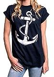 MAKAYA Longshirt Oversize Oberteile - Anker T-Shirt