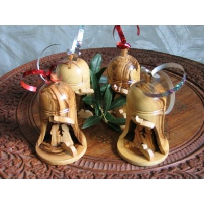 4 Olive Wood Bell Christmas Ornaments From Bethlehem by Holy Land Imports -