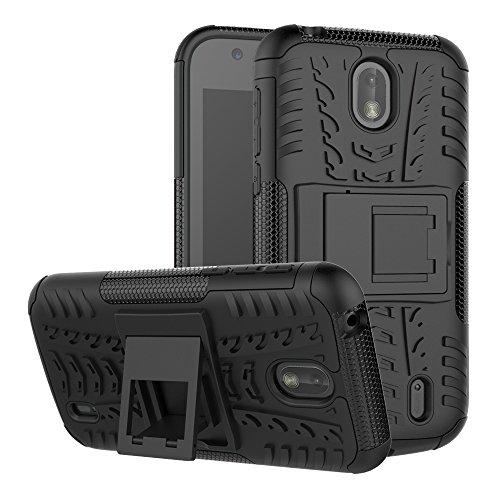 TenYll Nokia 1 Hülle, 2in1 Silikon Rückseite Schutzhülle,Heavy Duty Tough Rugged Shock Proof Case,Mit Halterung Doppeltem Schutz Cover für Nokia 1 -Schwarz