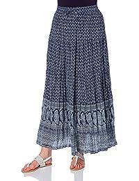 Roman Originals Gypsy Long Summer Skirt Cotton Paisley Bohemian Print Crinkle Tiered Maxi Skirts in Navy - Women Ladies