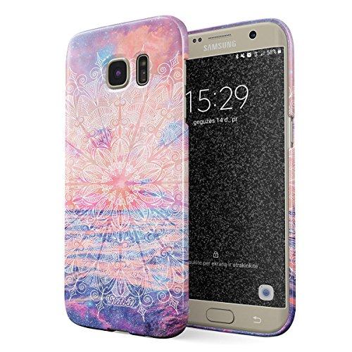 Glitbit Hülle Kompatibel mit Samsung Galaxy S6 Edge Henna Mandala Paisley Lace Ornament Landscape Mountains Nature Natur Landschaft Muster Dünn Robuste Rückschale aus Kunststoff Handyhülle Case Cover