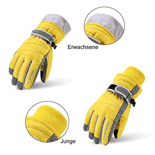 Rmine Ski Handschuhe Winddicht Regendicht Thermohandschuhe für Herren Damen Junge Kinder (Gelb, S (5-8 jahre)) - 5