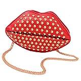 Win8Fong para mujer Studded labios remache bolsa de embrague oro noche funda cadena bolso de mano rojo rosso