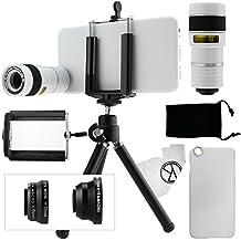 Kit obiettivi per fotocamera per iPhone 6 / 6S include Lente 8x per teleobiettivo / Obiettivo fisheye / Obiettivo 2 in 1 Macro e grandangolo / Mini cavalletto / Supporto universale / Custodia rigida per Apple iPhone 6 / 6S / Borsa portacellulare in velluto / Panno per pulire in microfibra CamKix - Fantastici accessori per la fotocamera del tuo iPhone 6 / 6S (bianco)