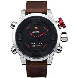 ZEIGER Herrnuhren Alarm Datum LED Digital Analog Quarz Sport Armbanduhr W296