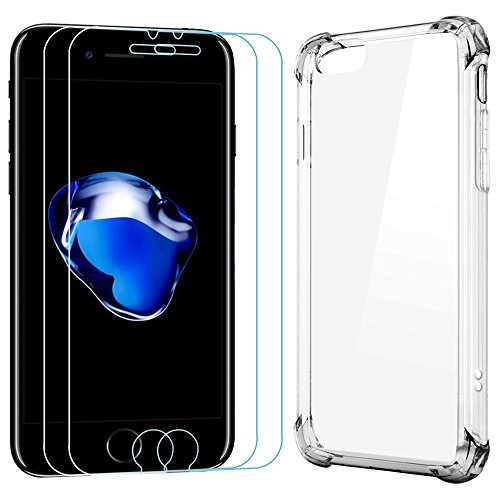 Price comparison product image 2 Screen Protectors for iPhone 7 Plus with 1 Protective Case, AFUNTA 2 Pack Anti-Scratches Tempered Glass with 1 Shockproof Transparent Cover Case for Apple iPhone 7 Plus, 5.5""