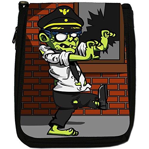 Zombie Plague-The Living Dead-Borsa a tracolla in tela, colore: nero, taglia: M Pilot Zombie
