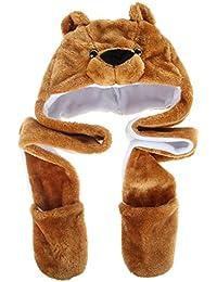 Lukis Long Plush Faux Fur Head Trapper Hat Hood Scarf Snood Gloves All in  One 2b86c40da6af