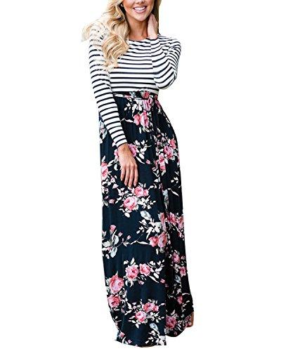 Cnfio Damen Kleider Maxikleid Lang Boho Langarm Blumen Streifen High Waist Maxi