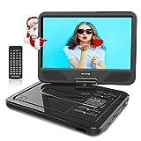 WONNIE 12.5' Lecteur DVD Portable avec écran Rotatif de 10,5' à 270°, Carte SD et Prise USB avec Charge directe Formats/RMVB / AVI / MP3 / JPEG, Parfait pour Enfants (Noir)