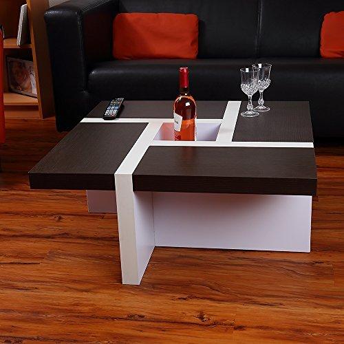 Melko® Couchtisch Wohnzimmertisch schwarz / weiß, 80x80x35 cm, Beistelltisch Designertisch Holz