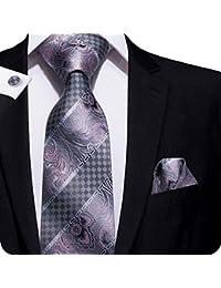8c326b7159f4 Hi-Tie Ensemble 3 pièces en soie ornées d un motif à carreaux pour homme,  comprend une cravate, un…