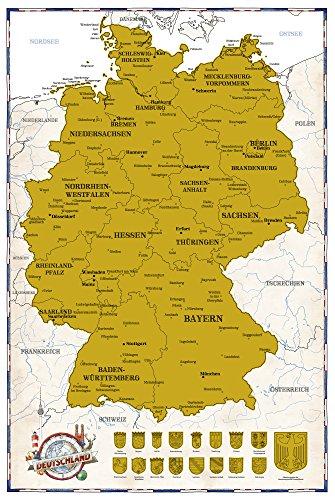 Empireposter - Deutschland-Rubbelkarte - Politische Deutschland-Karte, ca. 1:1 Mio - Größe (cm), ca. 61x91,5 - Poster (Karten Und Ca)