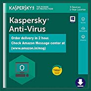 Kaspersky Anti-Virus 2020 Latest Version - 3 PCs, 1 Year (Single Key) (Email Delivery in 2 Hours - No CD)