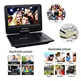 DBPOWER 9.5 Portable DVD Player, 5 Hour Rechargeable Battery, Swivel Screen, Supports SD Card and USB, With Game Controller+ Car Charger