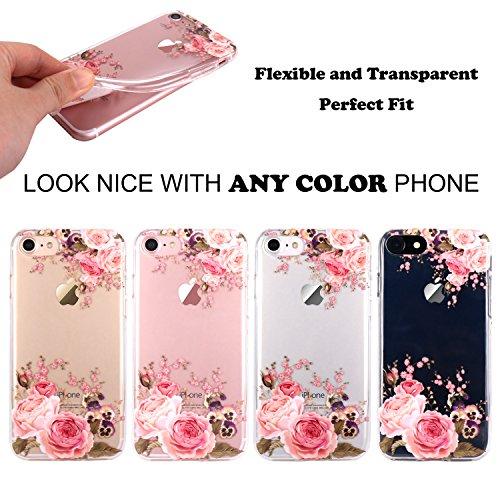 JIAXIUFEN TPU Gel Silicone Protettivo Skin Custodia Protettiva Shell Case Cover Per Apple iPhone 7 (2016) / iPhone 8 (2017) - Fiore Floreale Design Rose Flower Flower Rose