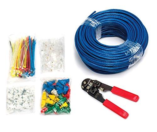 MutecPower - CAT5E Patchkabel [75m] - UTP - Ethernet Netzwerkkabel - BLAU - Mit Crimpzange + 50 RJ45 PCS + 100 Kabelschellen + 100 Kabelbinder + 50 Anschlussteckers - CCA - 75 meter