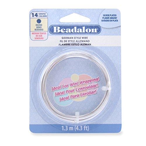 Beadalon German Style Wire, Round, Silver Plated, 14 Gauge, 1.3 Meters by Beadalon - 014 Gauge