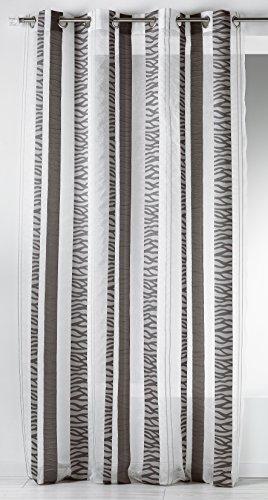 Hm6921398 home maison-tenda con fantasia a righe verticali in etamine ricamata, in poliestere, 140 x 260 cm grigio