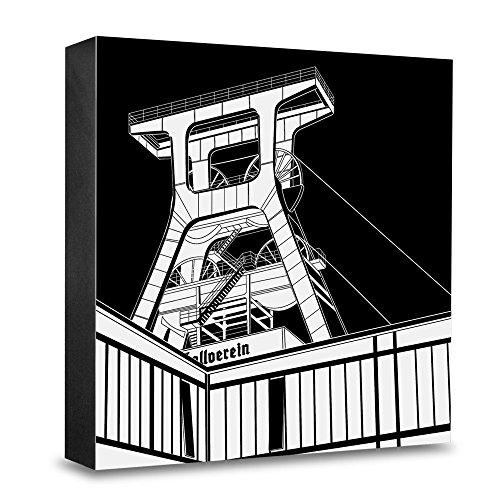 COGNOSCO HG-SG15 Foto-Holzblock medium-15 x 15 cm-Stadtgrafiken-Wandbild Internationale Architektur-Essen, Förderturm, Holz, Schwarz-Weiß, 15x15cm