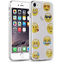 Cover iPhone 7, JAMMYLIZARD Custodia EMOJI in Silicone Glitterato per iPhone 7, ARGENTO