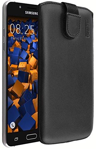 mumbi ECHT Ledertasche für Samsung Galaxy J5 (2016) Tasche Leder Etui schwarz (Lasche mit Rückzugfunktion Ausziehhilfe)