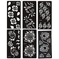 6 fogli Mehndi Tattoo Stencil Mehndi Tatuaggi all'hennè Set Flowers - Usa e getta - (18 Stencil Fogli)