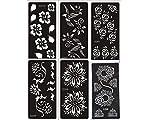 Mehandi Schablonen Set Blumen 6 Sheets für Henna, Glitter Tattoo und Air Brush Tattoo - Aktion nur für kurze Zeit