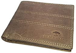 NUKAICHAU Brown Single Fold Mens Hunter Leather Wallet