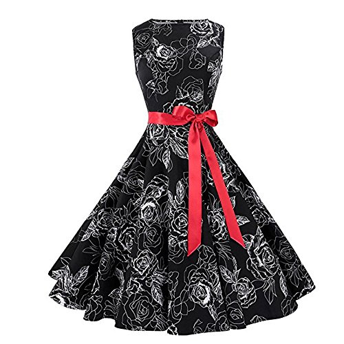 Damen Kleider SUNNSEAN Frauen Retro Abendkleider Ärmellos Elegant Cocktailkleid Beiläufig Printing...