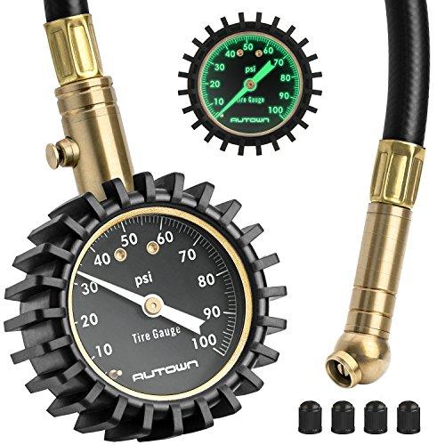 AUTOWN Mechanischer Reifendruckmesser, Tragbarer Reifendruckprüfer Manometer 0-100 PSI mit Zifferblatt, 360° drehbares Kugelgelenk für Auto, Motorrad, LKW, SUV, Inkl.4 Ventilkappen