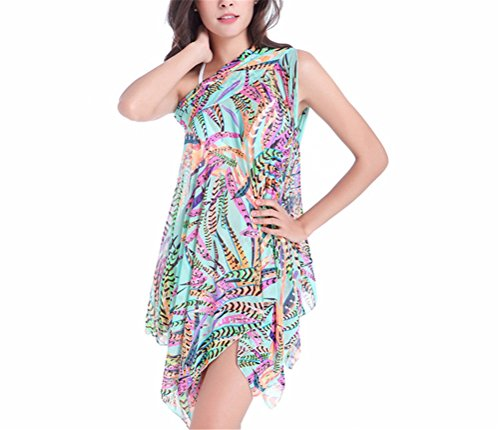 Hippolo Strand Rock Badeanzug Sexy Bademode Frauen Badeanzug Schwimmen Sommer Badebekleidung Print Badeanzug Bikini Kleid (XL, Blau) (Bluse Vor Versteckt)