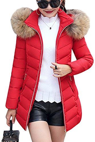 YMING Damen Übergangsjacke lange Mantel mit Kunstpelz Kapuze Winterjacke warm gefüttert Stepjacke,Schwarz M