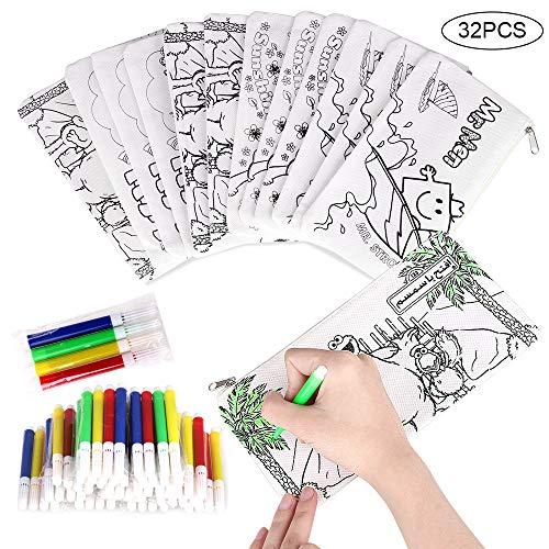 Faburo 32 Piezas Kit de Estuches para Colorear y Rotuladores de Colores, Incluye 16 Caja de Lápiz para Colorear y Mini Rotuladores de Tiza para Niños, Colegios, Regalos y Bolsas de Cumpleaños