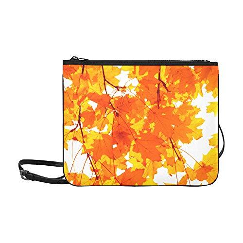 WYYWCY Einzelnes helles rotes getrocknetes Ahornblatt-Muster-kundenspezifisches hochwertiges dünnes Nylon-Handtasche Kreuzkörperbeutel-Umhängetasche - Harmonie Blättern