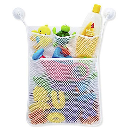 BOZEVON Badewannen Spielzeugnetz Spielzeug Organisator Weiß Tasche mit haltbaren und größeren Netz Badezimmer Organizer Hängender Mesh Beutel