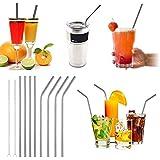 Iktu 8 Pcs Stainless Steel Metal Cocktail Drinking Straw Reusable Mocktail Straws + Cleaner Brush (4 Straight + 4 Bent)