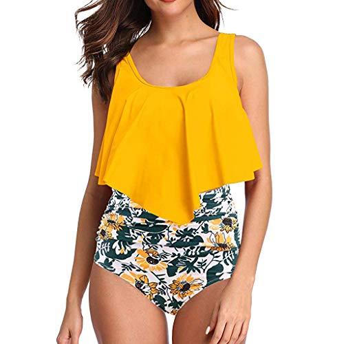 QingJiu Damen Zweiteiler Übergröße Top Backless Halter Strand Bademode Bikini Set Plus Size Frauen Slip (Small, Gelb)