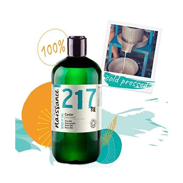 Naissance Aceite de Ricino BIO 500ml – Puro, natural, certificado ecológico, prensado en frío, vegano, sin hexano, no…